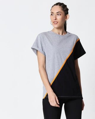 Shop Space Grey Women's Half Sleeve 90's Vibe Asymmetric Three Panel Boyfriend T-Shirt-Front