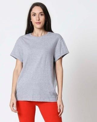 Shop Space Grey Women's Half Sleeve Boyfriend T-Shirt-Front