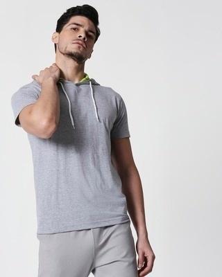 Shop Space Grey Men's Half Sleeve Hoodies T-Shirt-Front
