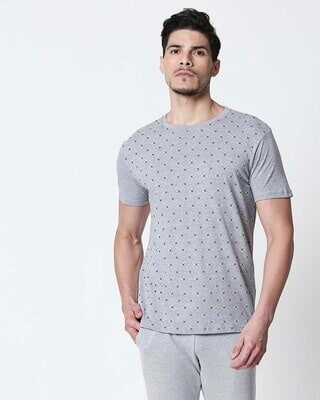 Shop Space Grey Men's Half Sleeve All Over Printed T-Shirt-Front