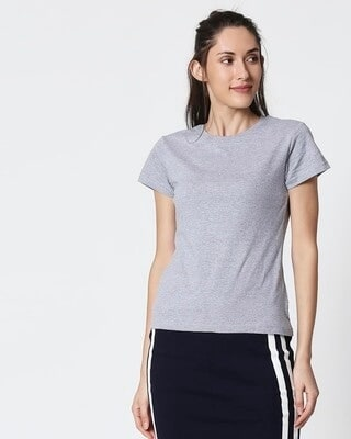 Shop Space Grey Women's Half Sleeve T-Shirt-Front