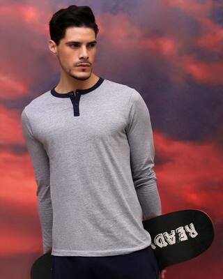 Shop Space Grey Men's Full Sleeve Henley T-Shirt-Front