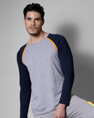 Shop Space Grey Men's Full Sleeve Raglan T-Shirt-Front
