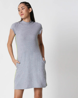 Shop Space Grey Women's Half Sleeve High Neck Pocket Dress-Front