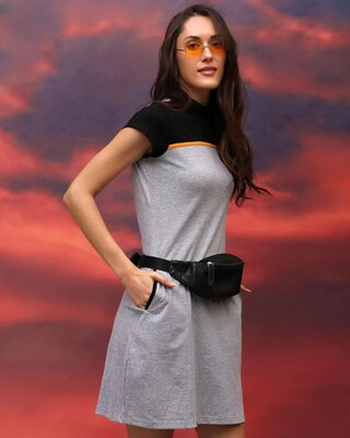 Shop Space Grey Women's Half Sleeve High Neck Two Panel Pocket Dress-Front