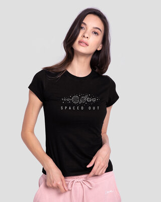 Shop Space It Out Half Sleeve T-Shirt Black-Front