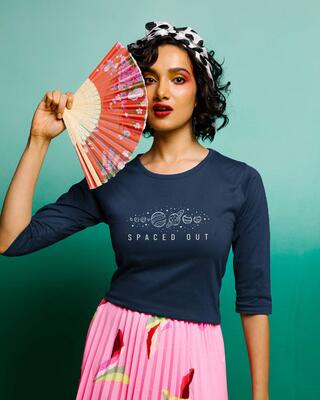 Shop Space It Out Round Neck 3/4th Sleeve T-Shirt Navy Blue-Front