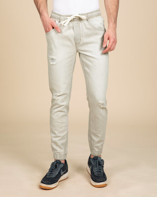 Shop Spanish Grey Plain Denim Joggers-Front