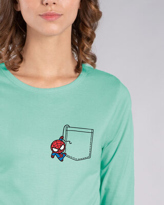 Shop Spidey Pocket Round Neck 3/4th Sleeve T-Shirt (AVL)-Front