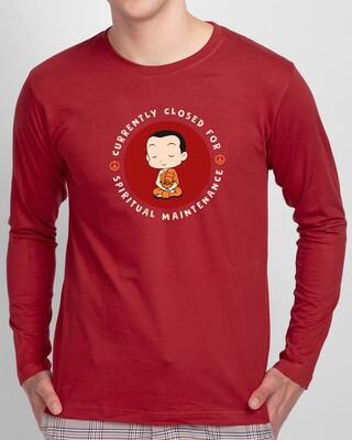 Shop Spirit Maintenance Full Sleeve T-Shirt Bold Red-Front