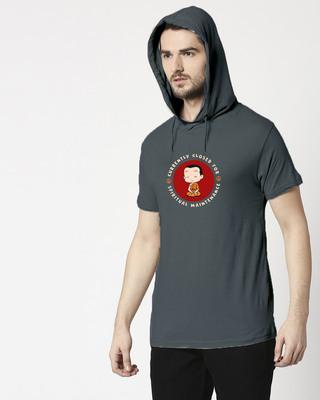 Shop Spirit Maintenance Half Sleeve Hoodie T-shirt Nimbus Grey-Front