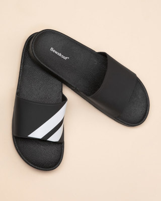 Shop Sporty Black Sliders-Front
