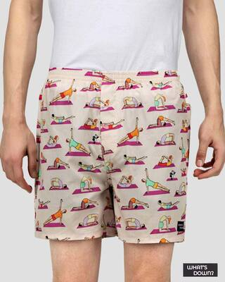 Shop What's Down | Spot the Panda Boxer Shorts | Beige Yoga Boxers-Front