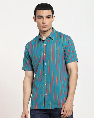 Shop Spruce up Tribal Stripe Half Sleeve Shirt-Front