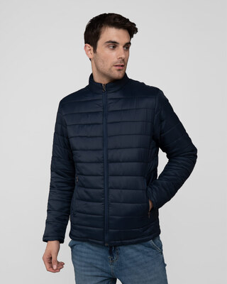 Shop Star Night Blue Plain Puffer Jacket-Front