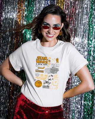Shop Star wars doodle Printed Boyfriend T-Shirts-Front