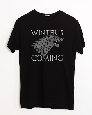 Shop Stark Winter Is Coming Half Sleeve T-Shirt (GTL)-Front