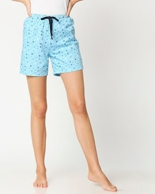 Shop Starry Blue Women's Boxer Shorts-Front