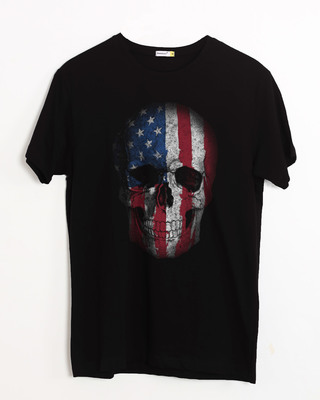 Shop Stars And Stripes Skull Half Sleeve T-Shirt-Front