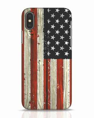 Shop Stars And Stripes Wood iPhone X Mobile Cover-Front