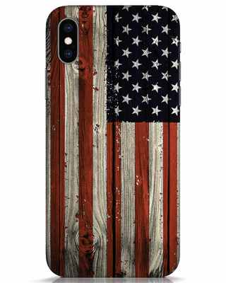 Shop Stars And Stripes Wood iPhone XS Mobile Cover-Front