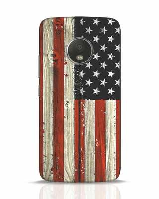 Shop Stars And Stripes Wood Moto G5 Plus Mobile Cover-Front