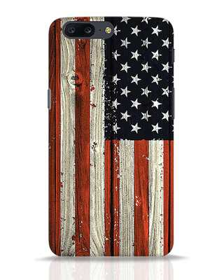 Shop Stars And Stripes Wood OnePlus 5 Mobile Cover-Front