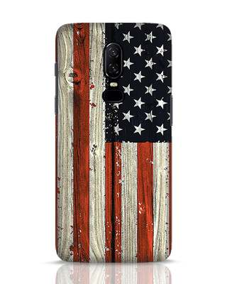 Shop Stars And Stripes Wood OnePlus 6 Mobile Cover-Front