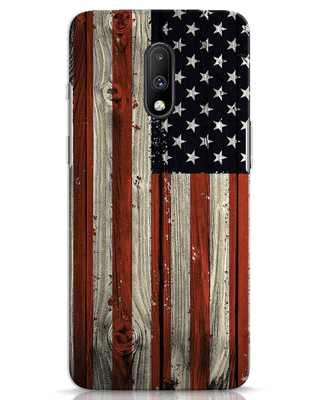 Shop Stars And Stripes Wood OnePlus 7 Mobile Cover-Front