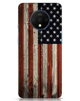 Shop Stars And Stripes Wood OnePlus 7T Mobile Cover-Front