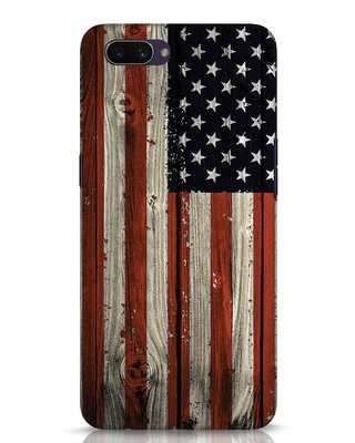 Shop Stars And Stripes Wood Oppo A3S Mobile Cover-Front