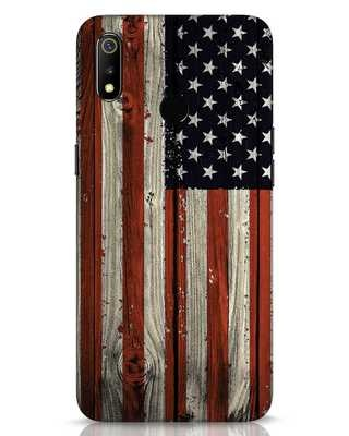 Shop Stars And Stripes Wood Realme 3 Mobile Cover-Front