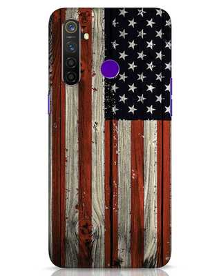 Shop Stars And Stripes Wood Realme 5 Pro Mobile Cover-Front