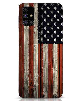 Shop Stars And Stripes Wood Samsung Galaxy M31s Mobile Cover-Front