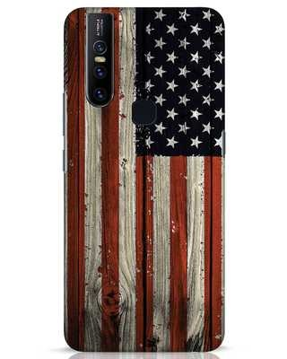 Shop Stars And Stripes Wood Vivo V15 Mobile Cover-Front