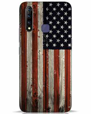 Shop Stars And Stripes Wood Vivo Z1 Pro Mobile Cover-Front