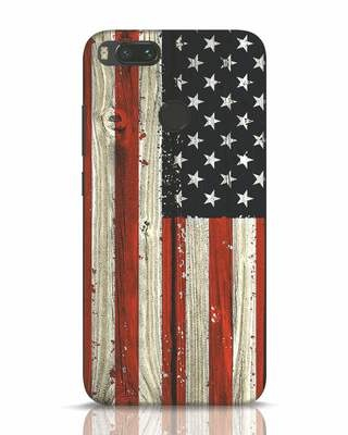 Shop Stars And Stripes Wood Xiaomi Mi A1 Mobile Cover-Front