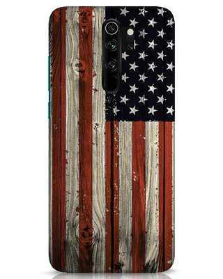 Shop Stars And Stripes Wood Xiaomi Redmi Note 8 Pro Mobile Cover-Front