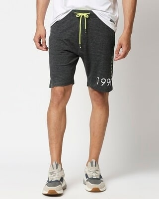 Shop Status Quo Charcoal Elasticated Shorts-Front