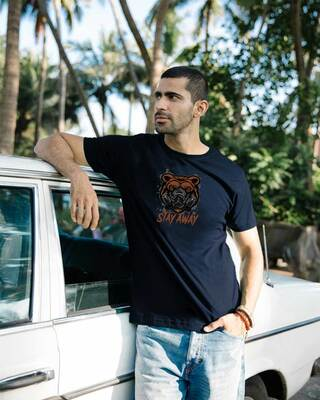 Shop Stay Away Bear Half Sleeve T-Shirt-Front