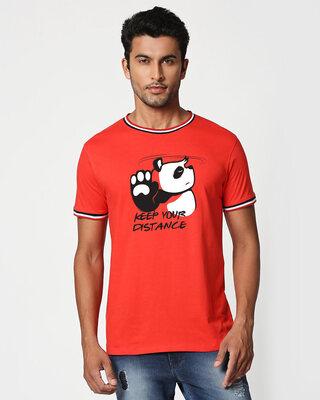 Shop Stay Away Panda Crewneck Varsity Rib H/S T-Shirt-Multicolor-Front