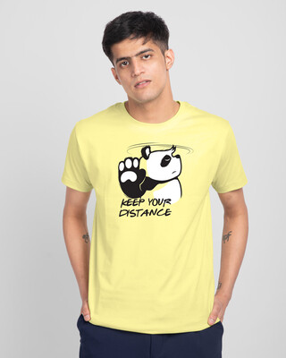 Shop Stay Away Panda Half Sleeve T-Shirt-Pastel Yellow-Front