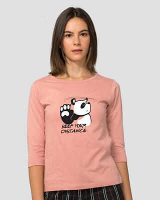 Shop Stay Away Panda Round Neck 3/4 Sleeve T-Shirts Misty Pink-Front