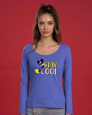 Shop Stay Cool Mickey Scoop Neck Full Sleeve T-Shirt (DL)-Front