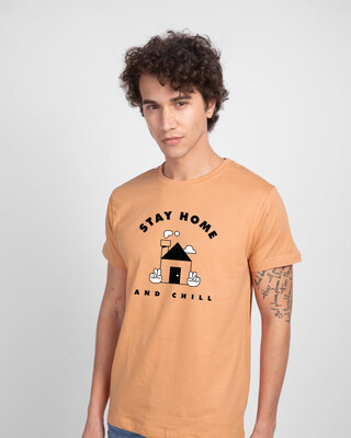 Shop Stay Home And Chill Half Sleeve T-Shirt Apricot Orange-Front