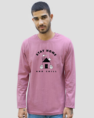 Shop Stay Home And Chill Full Sleeve T-Shirt Frosty Pink-Front