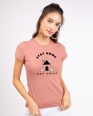 Shop Stay Home And Chill Half Sleeve T-Shirt Misty Pink-Front