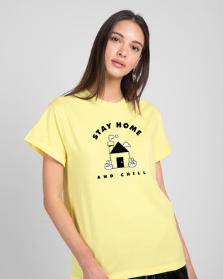 Shop Stay Home And Chill Boyfriend T-Shirt Pastel Yellow-Front