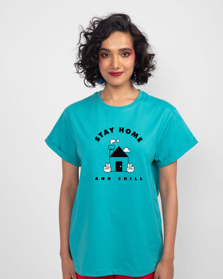 Shop Stay Home And Chill Boyfriend T-Shirt Tropical Blue-Front