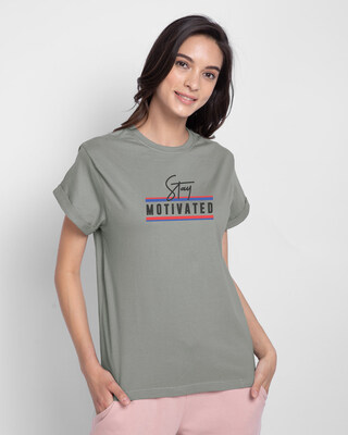 Shop Stay Motivated Stripe Boyfriend T-Shirts Meteor Grey-Front